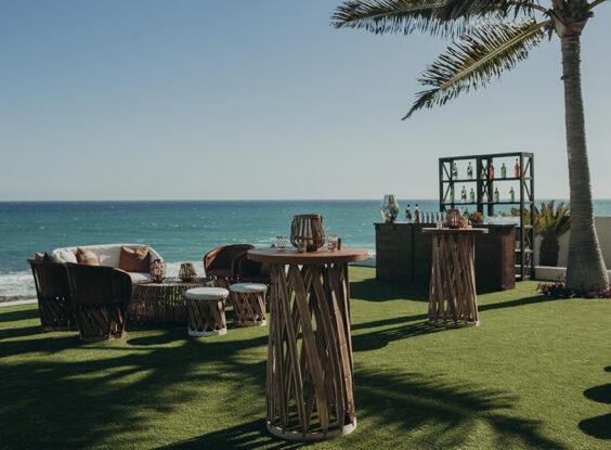 Beach front wedding cocktail party luxury villa Los Cabos