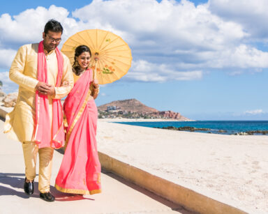 Hindu Wedding bridal party beach Cabo