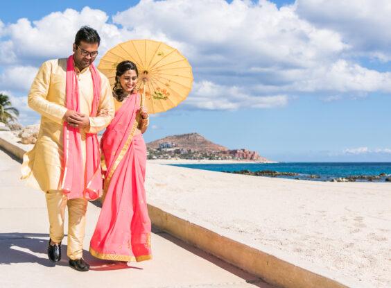 Hindu Wedding bridal party beach Cabo