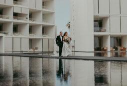 Dramatic walking down the aisle wedding day Viceroy Nido Los Cabos