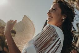 Boho chic wedding fans destination Mexico